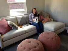 Jessamyn and Olivia in her new living room...still with tags on pillows.