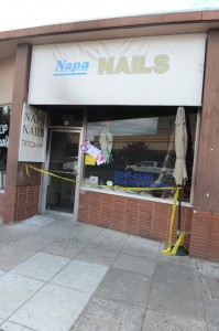 Napa Nails with emergency tape, and cards from well wishers.  Photos by Charlie Ray