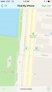 The Find My Phone app, with location of my phone!!