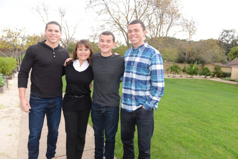 Alicia and her sons. From left, Prestin, Carson, and Quinton.